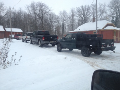 Hound hunting trucks on the first morning of the Wisconsin hound hunting season. Wolf Patrol